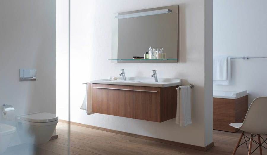 Gallery - Duravit Stark 3 light wood bathroom suite with wall hung double basins