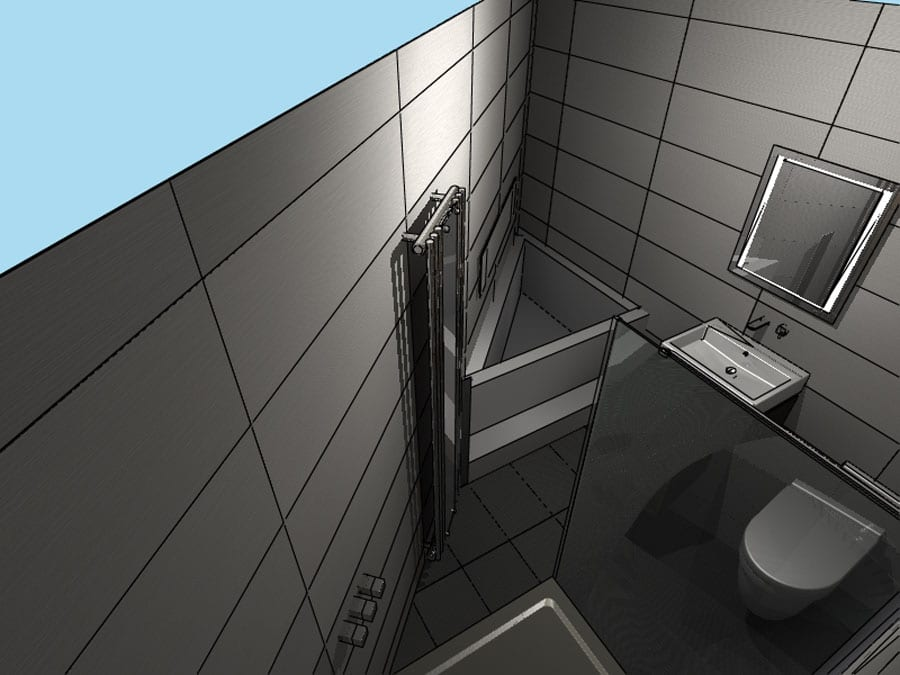 Gallery - Initial plans for and awkwardly shaped triangular ensiute shower room designed by Room H2O