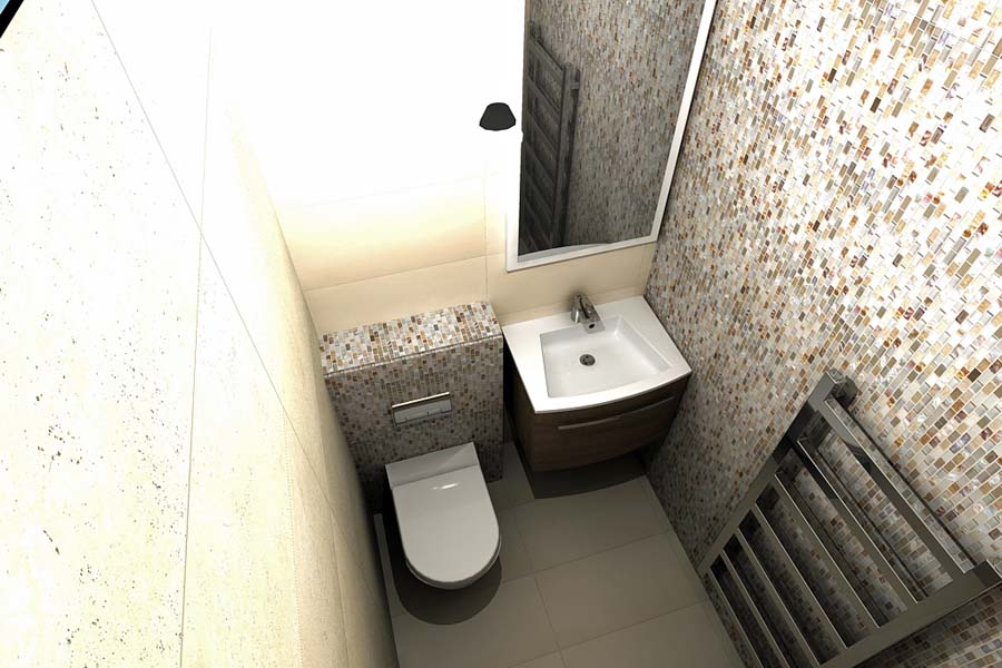 Gallery - A compact modern cloakroom with mosaic tiles designed by Room H2O using Virtual Worlds bathroom design software