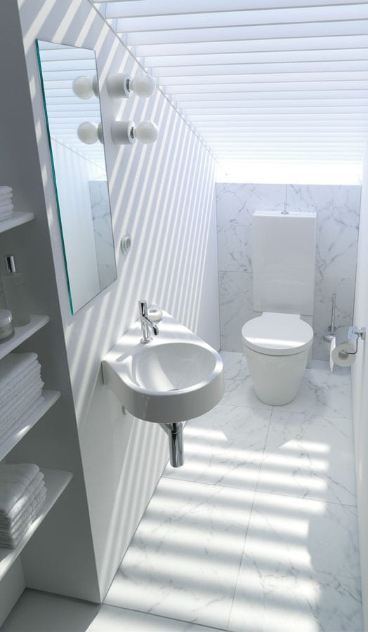 Gallery - Small cloak room with Duravit Architec suite and built in storage