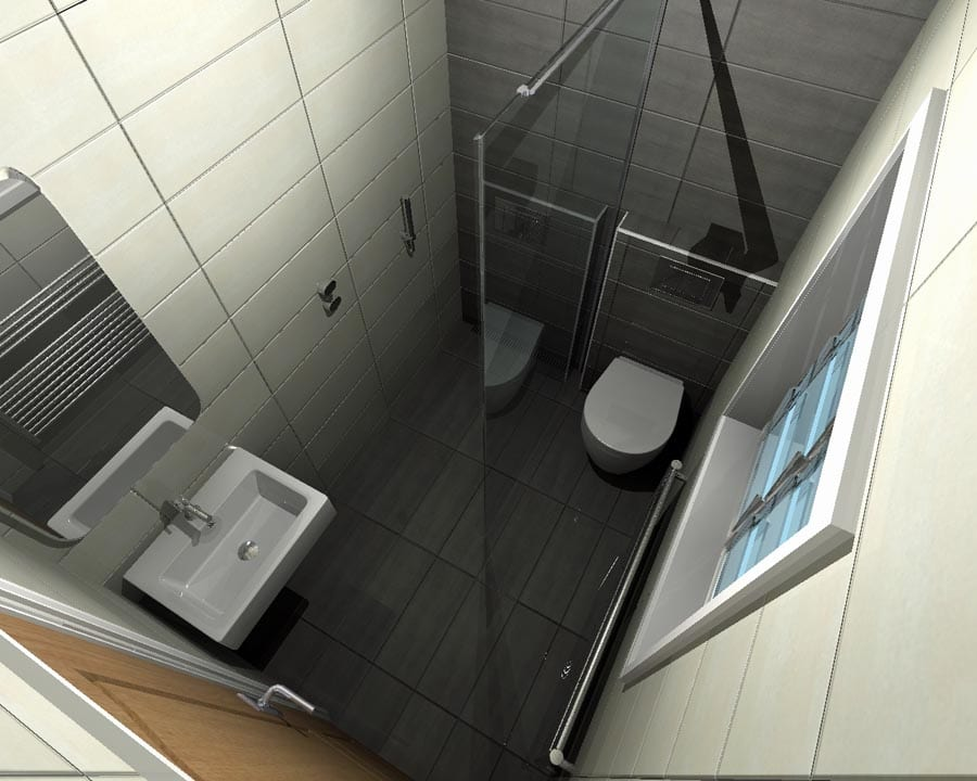 Gallery - A concept for a small wetroom with space saving toilet and basin designed with Virtual Worlds by Room H2O Bathrooms