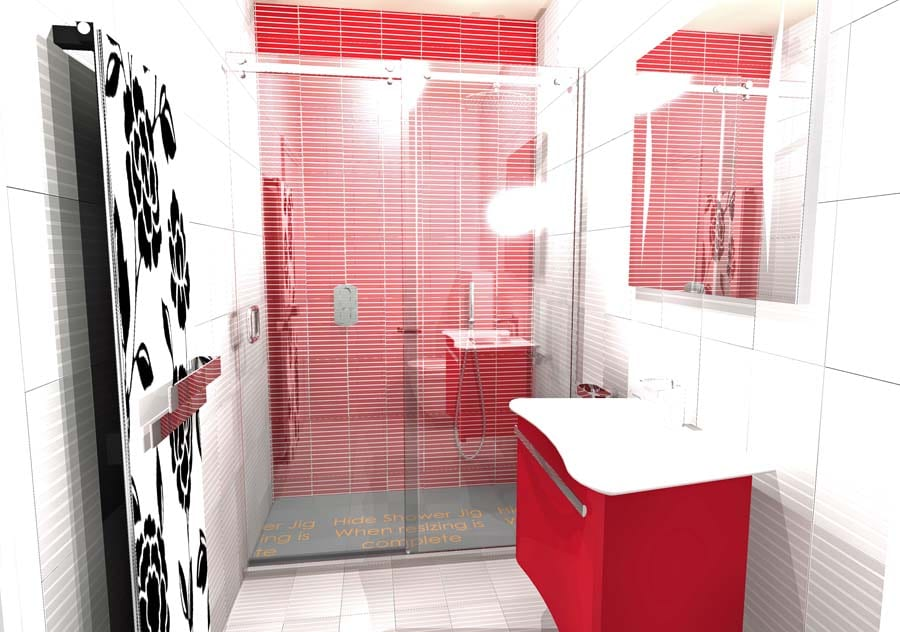 Gallery - A striking red and white shower room with elegant red vanity unit and frameless sliding shower enclosure designed by Room H2O