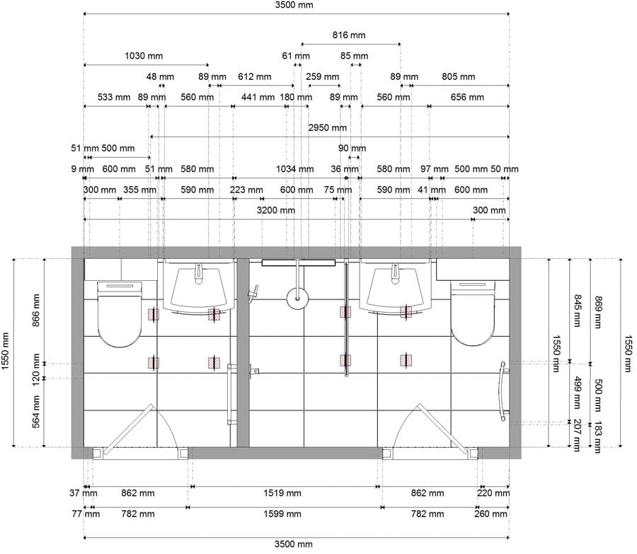 Gallery - Foor plan drawings produced by Room H2O for a luxury wetroom in Oxshott Surrey