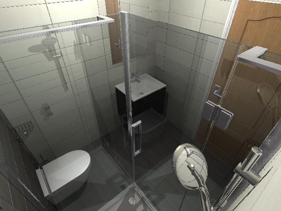 Gallery - Virtual design for a luxury ensuite shower room viewed from inside the frameless shower enclosure