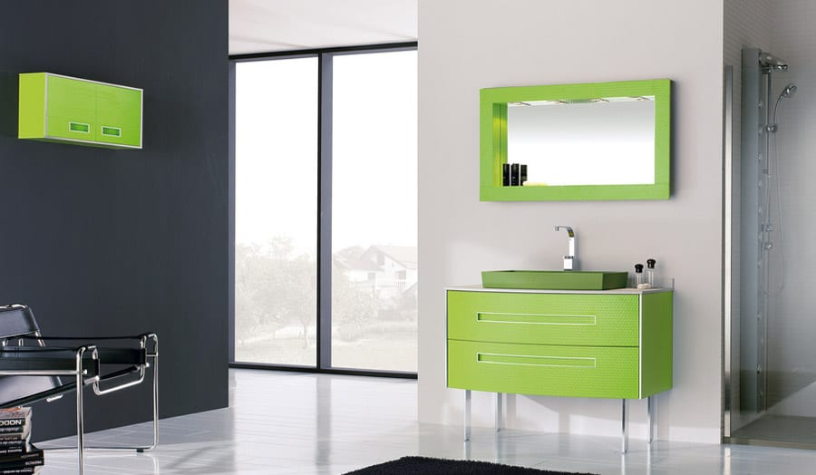 Gallery - Fiora Colours green bathroom suite with free standing wash stand