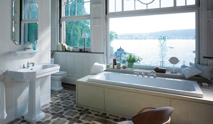 Gallery - Duravit luxury traditional bathroom suite with period floor tiles