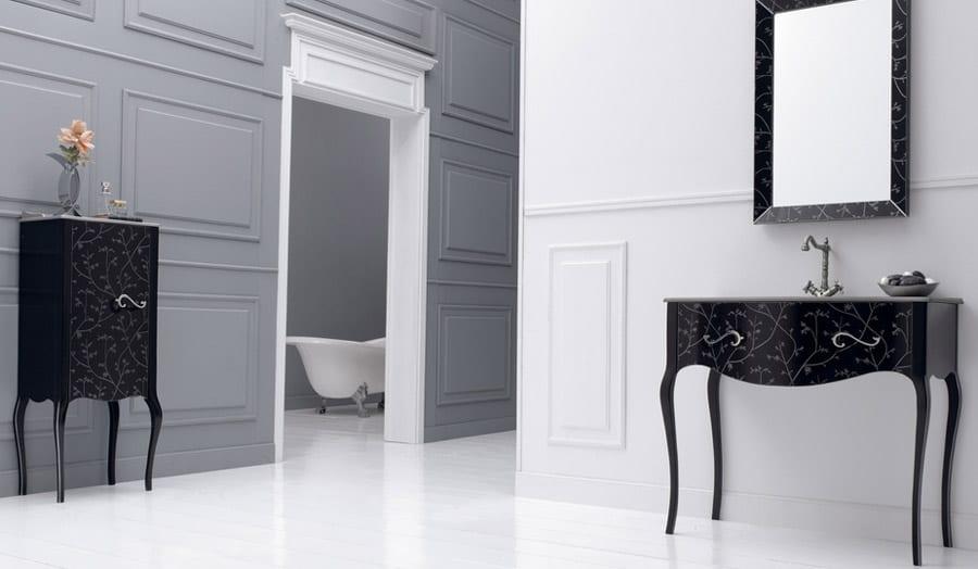 Gallery - Fiora Vivaldi black elegant wash stand and cabinet