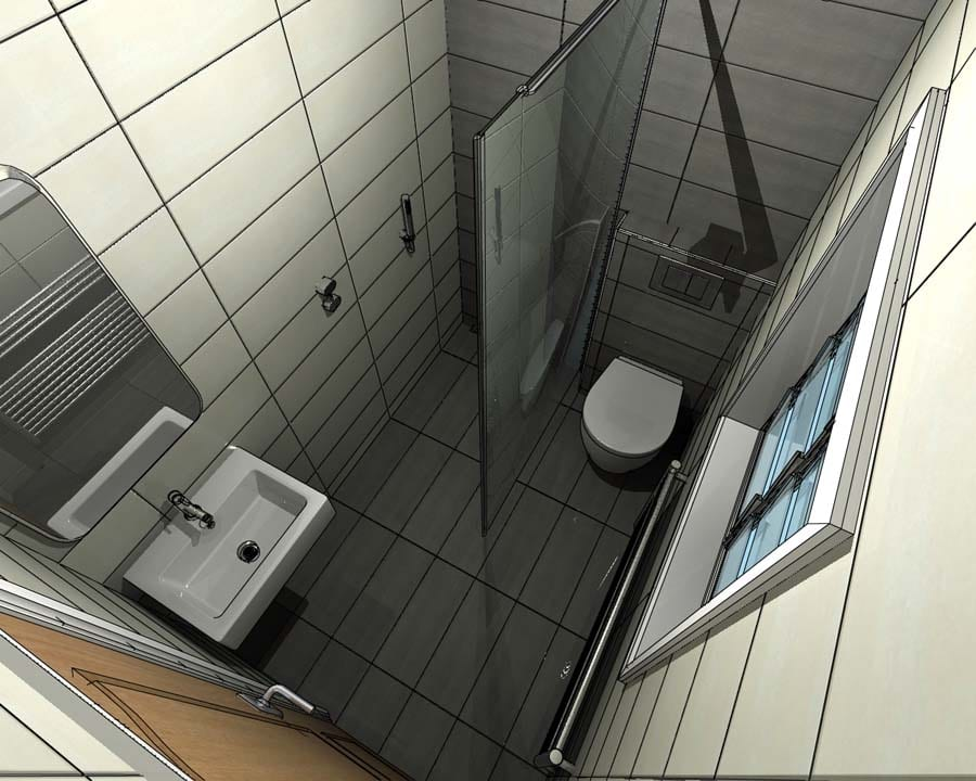 Gallery - A concept for a small wetroom with space saving toilet and basin prior to final rendering