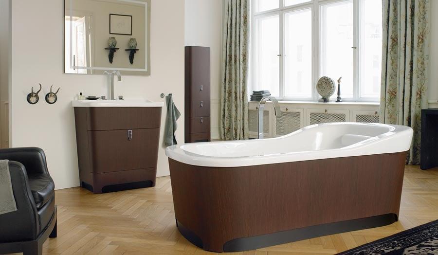 Gallery - Duravit Esplanade dark wood bathroom suite with contemporary free standing bath