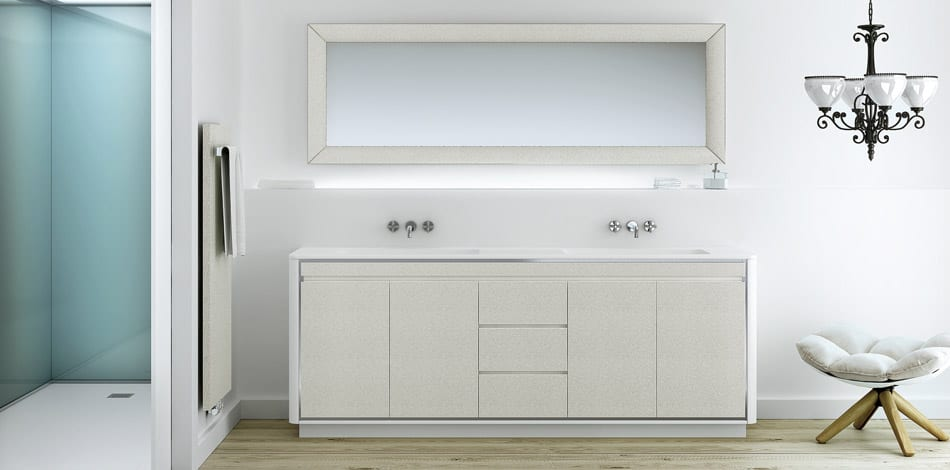 Firoa soft textured vanity unit with twin sinks and back lit mirror