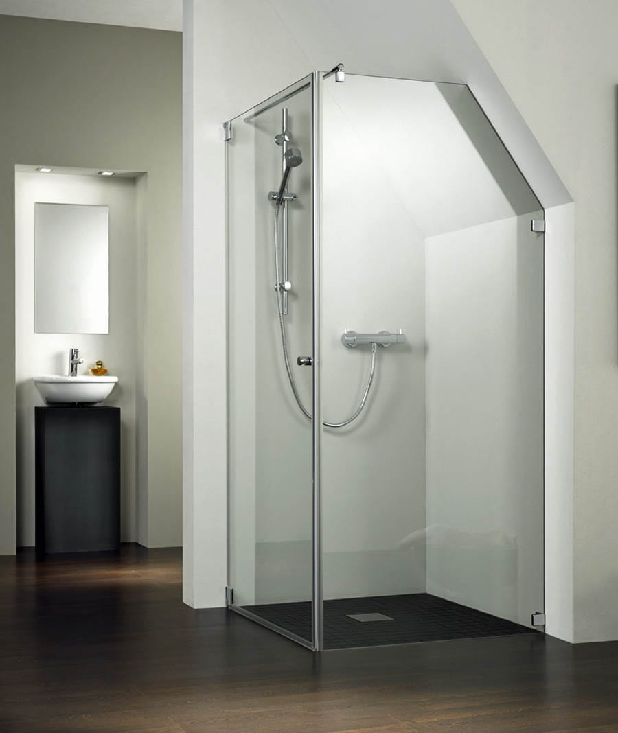 Made to measure KIENLE semi frameless shower enclosure with angled side panel to suit a bathroom with a sloping ceiling
