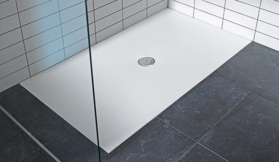 Duravit Stark white low profile luxury shower tray with central high flow waste