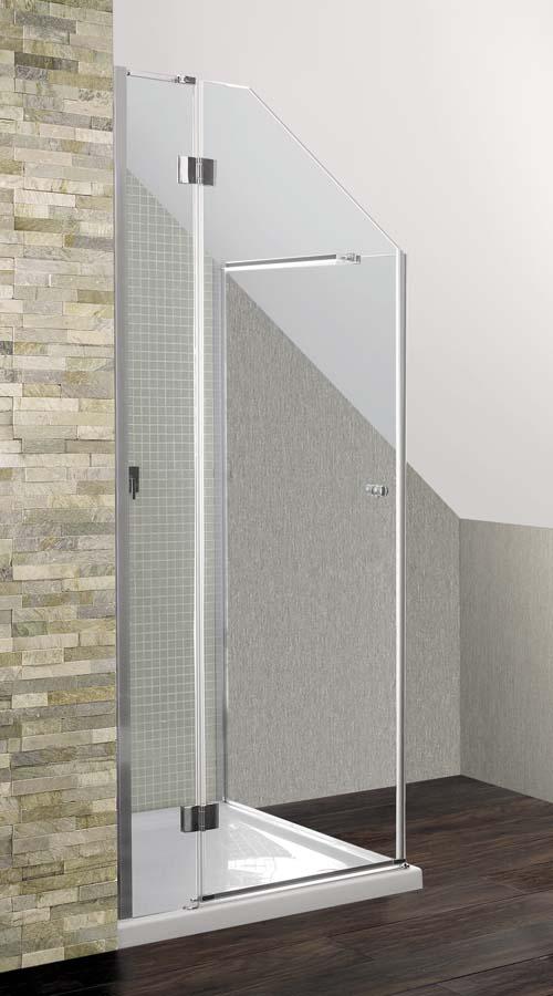 A bespoke Simpsons Design semi frameless shower door and reduced height return panel