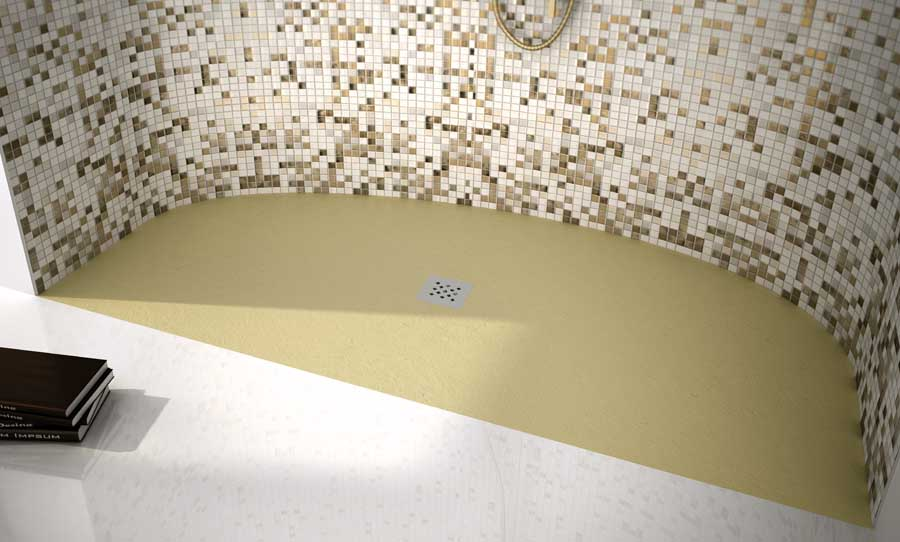 Fiora Elax beige curved bespoke shower tray