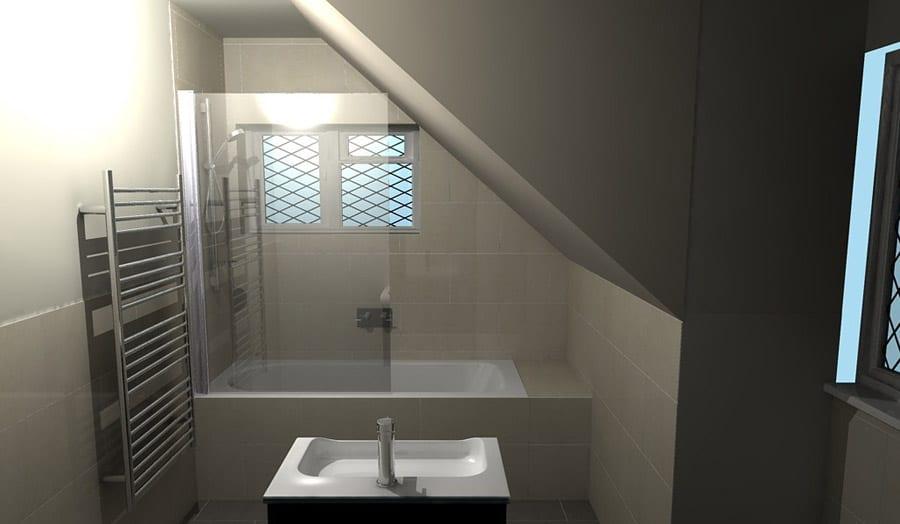 A luxury bathroom in a loft conversion designed by Room H2O Wareham