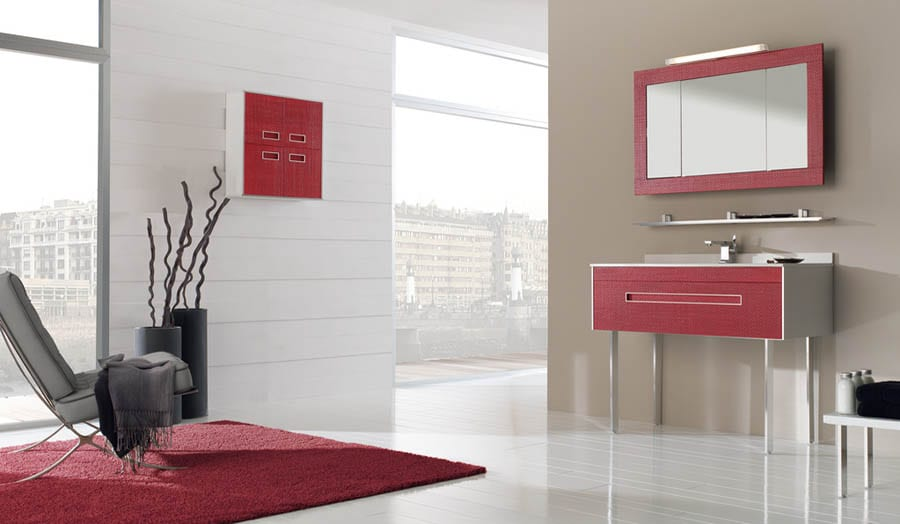 Red bathroom suite
