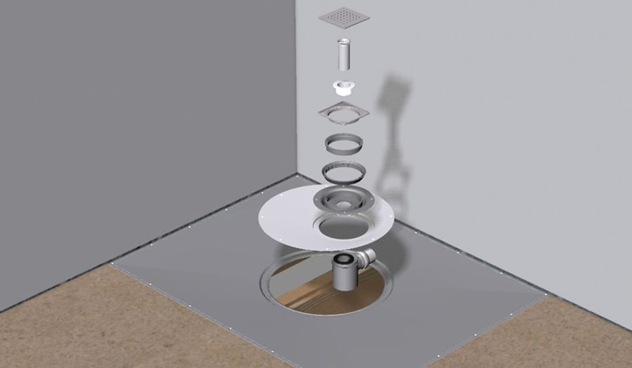 Diagram of a wetroom floor and highflow drain construction