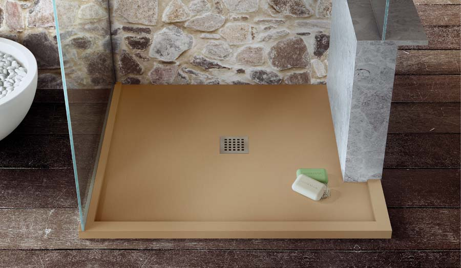 A bespoke made to measure Fiora shower tray with central flush waste