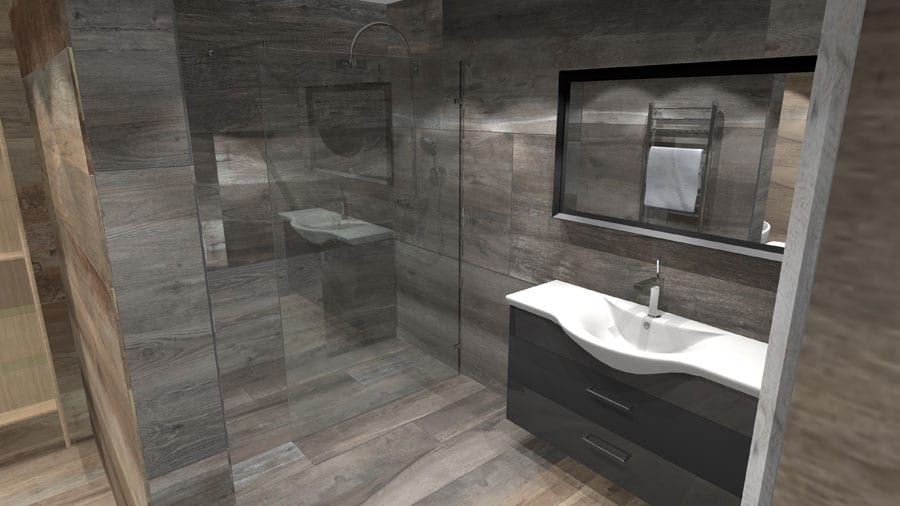 A virtual design for a large luxury wetroom tiled with oak effect porcelain tiles