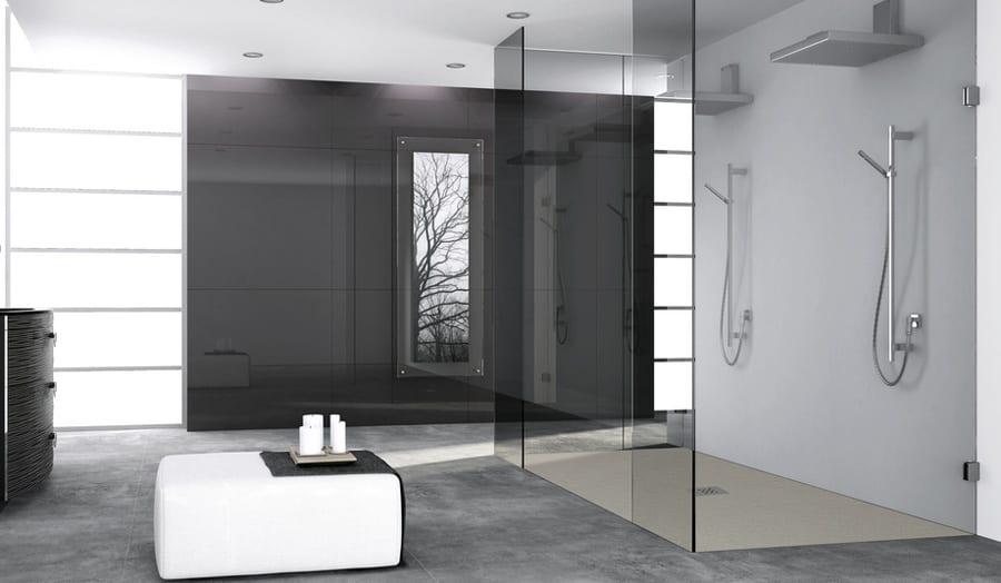 Fiora Silex wetroom tray with framless glass shower screen