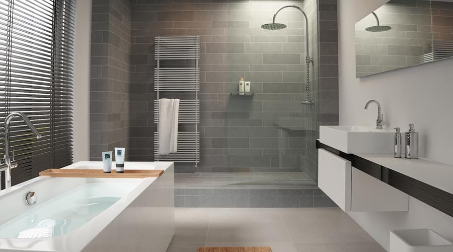 CLOU Match Me minimalist bathroom with wetroom and freestanding bath