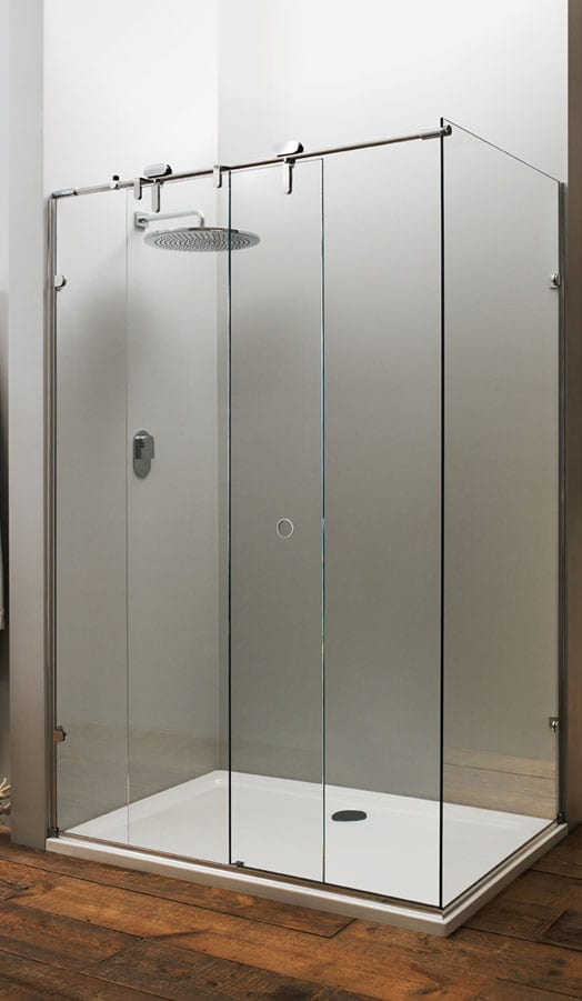 Mistley Memphis 10mm glass frameless sliding shower enclosure in place of a bath