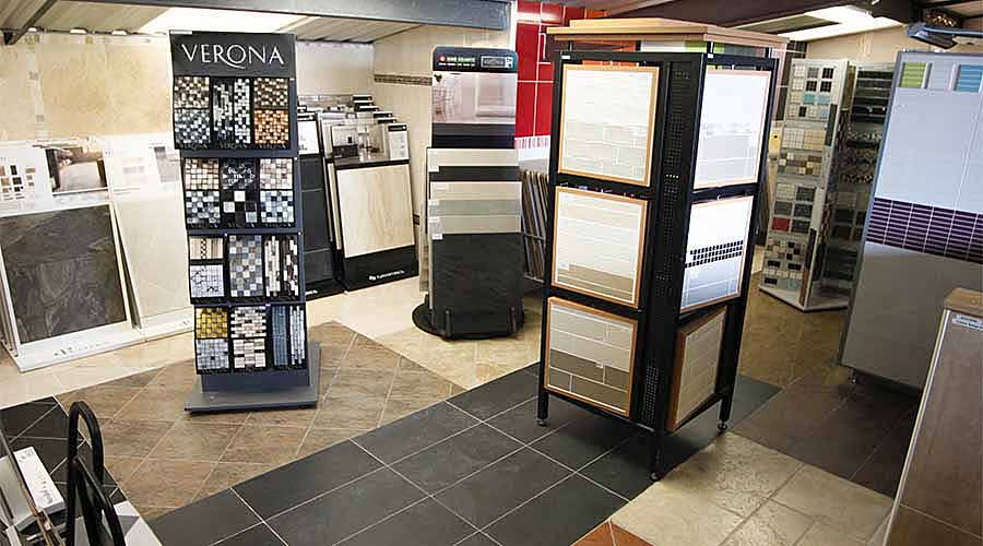 Displays of bathroom and kitchen ceramic stone and porcelain wall and floor tiles at the Room H2o bathroom and tile showroom in Wareham Dorset