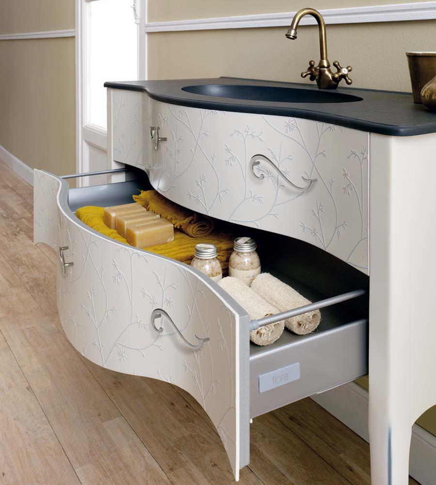 Fiora Vivaldi large vintage style free standing bathroom basin vanity unit with twin storage drawers
