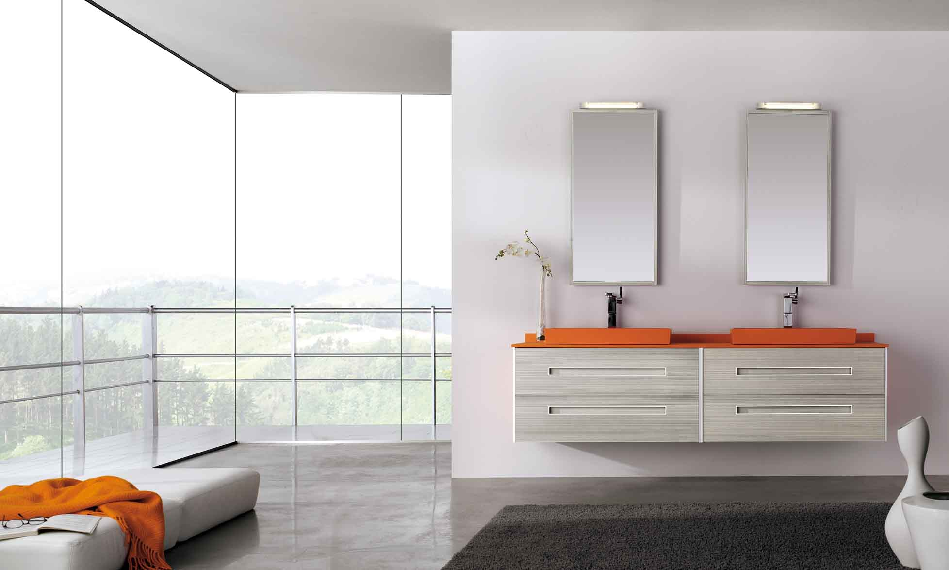 Fiora Colours orange and white bathroom suite with twin wall hung basins and vanity unit