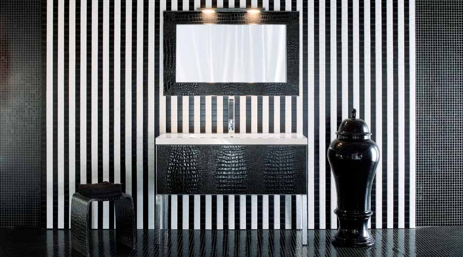A striking modern monochrome black and white bathroom with Adatto Casa large freestanding wash basin and vanity unit