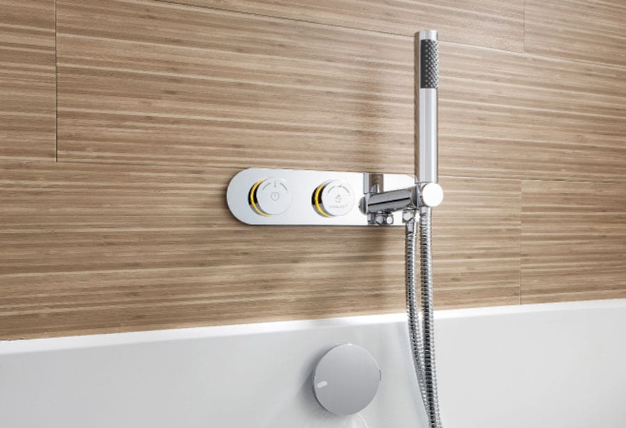 Crosswater Digital DUO electronic bath filler with chrome mounting plate and hand shower