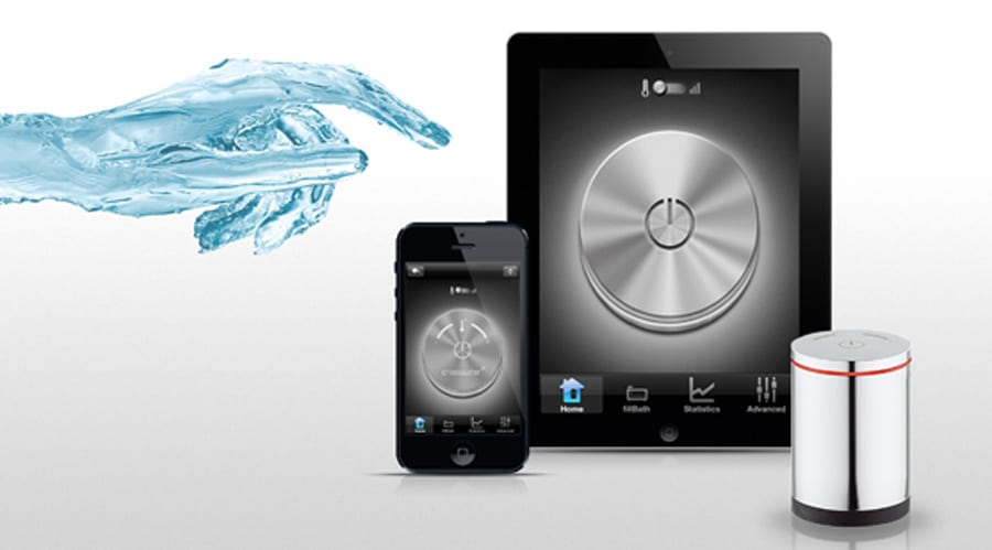 Crosswater Digital shower and bath control unit with remote control smart phone and tablet app