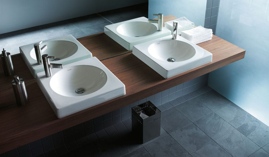 Duravit Architec luxury hotel guest bathroom with double sinks and large mirror