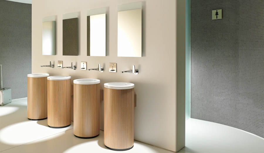 Duravit restaurant bathroom with four cylindrical free standing Onto sinks