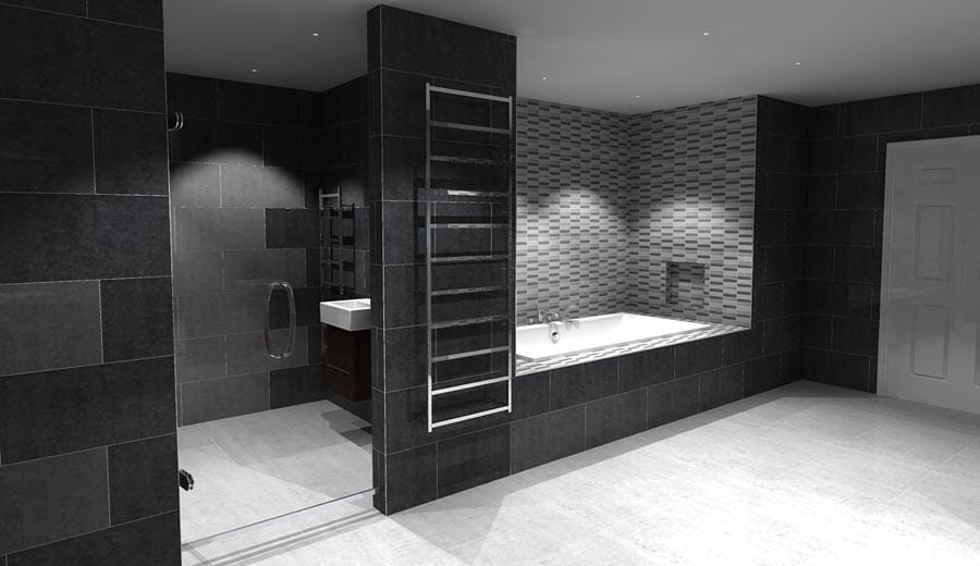 Luxury Bathroom Design With Black Tiles By Room H2O