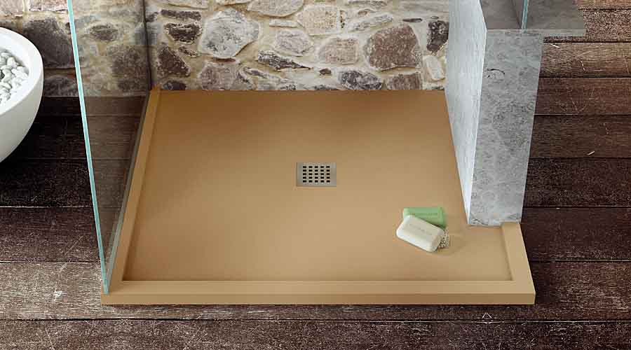 A caramel coloured custom made shower tray by Room H2o