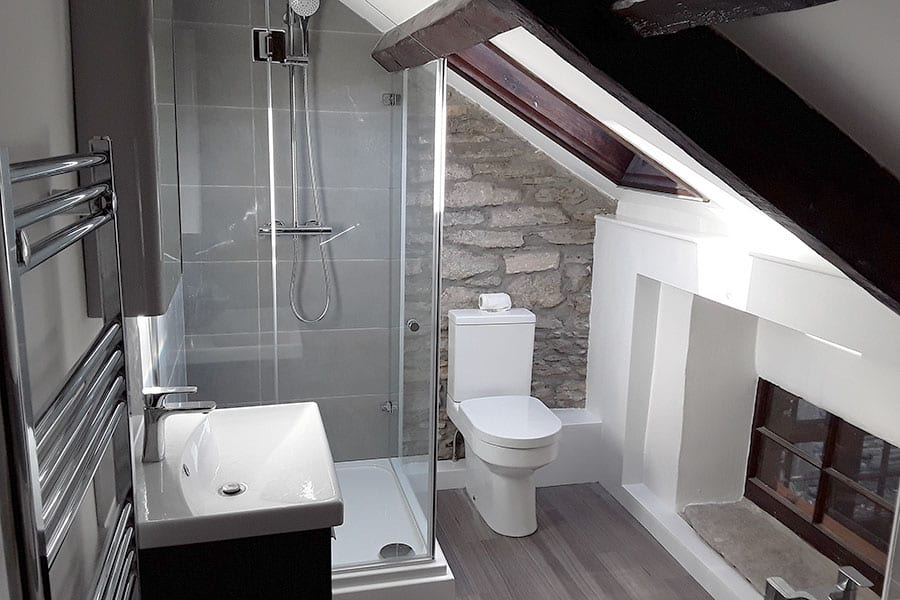 angled ceiling in old cottage bathroom conversion