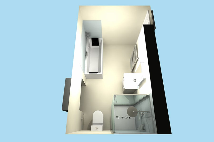 overhead 3D image of Swanage bathroom project
