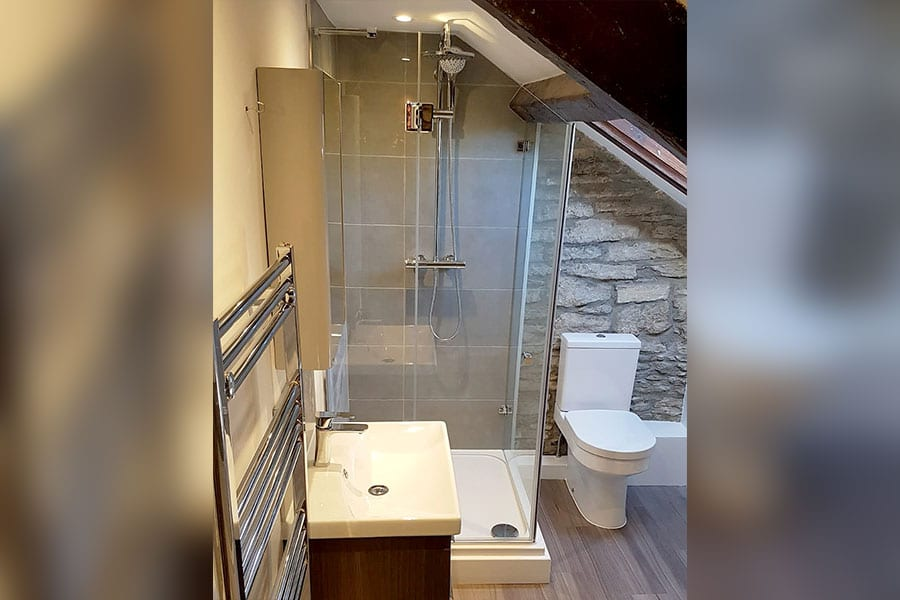 made to measure shower enclosure for sloped ceiling