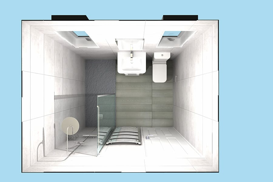 Overhead 3D view of disability shower room