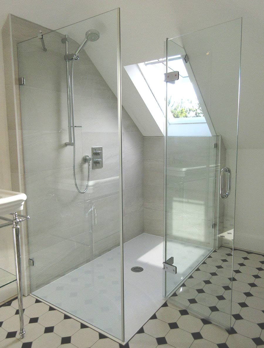 Loft conversion shower enclosure made to measure by Room H20