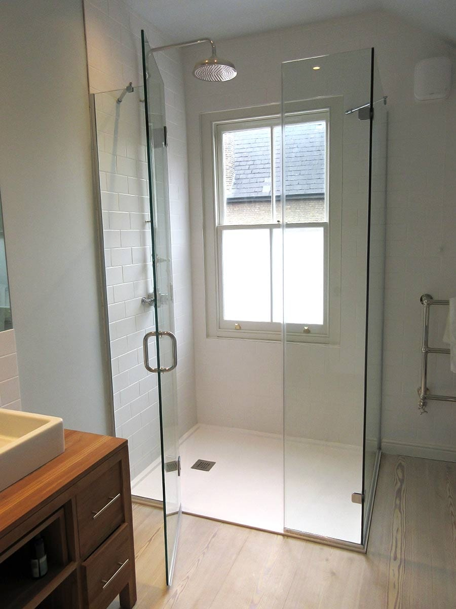 Large bespoke shower enclosure designed