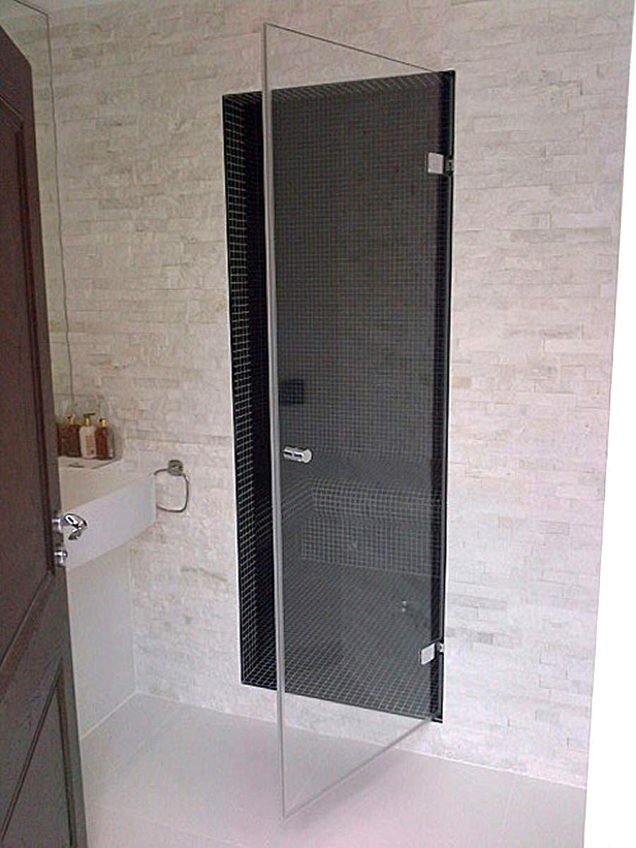Inset frameless glass wall hinged shower door made and installed by Room H2o in Surrey