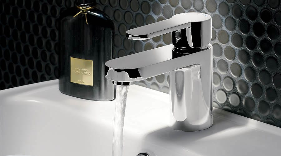 Monochrome bathroom sink area