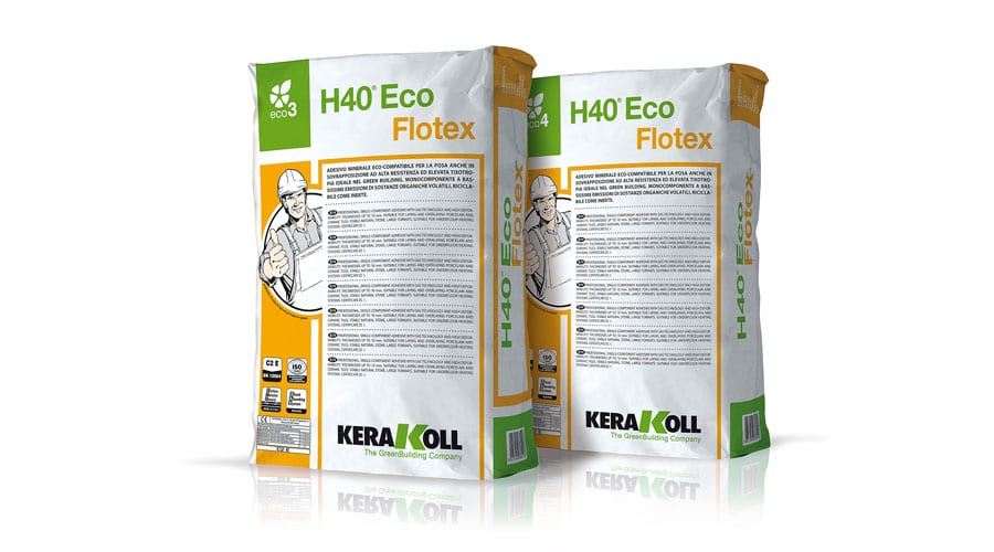 Kerakoll H40 ECO FLOTEX mineral tile adhesive for ultra-thin and large format tiles
