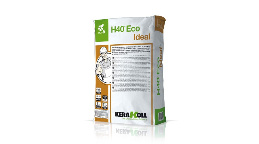 Kerakoll H40 ECO IDEAL mineral tile adhesive for fixing tiles directly to plaster