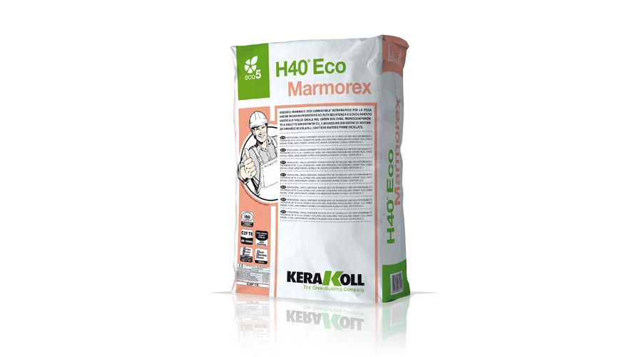Kerakoll H40 ECO MARMOREX mineral tile adhesive for fixing delecate marle tiles and slabs
