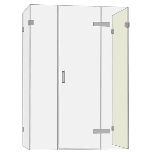 Room H2o frameless glass hinged shower door with 2 inlines and 2 side panels GHD2I2S