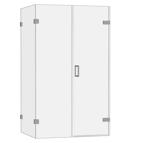 Room H2o frameless wall hinged shower door with 1 inline and 1 side panels FWHD1I1S