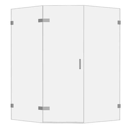 Room H2o frameless glass pentagon shower enclosure GHD2P00